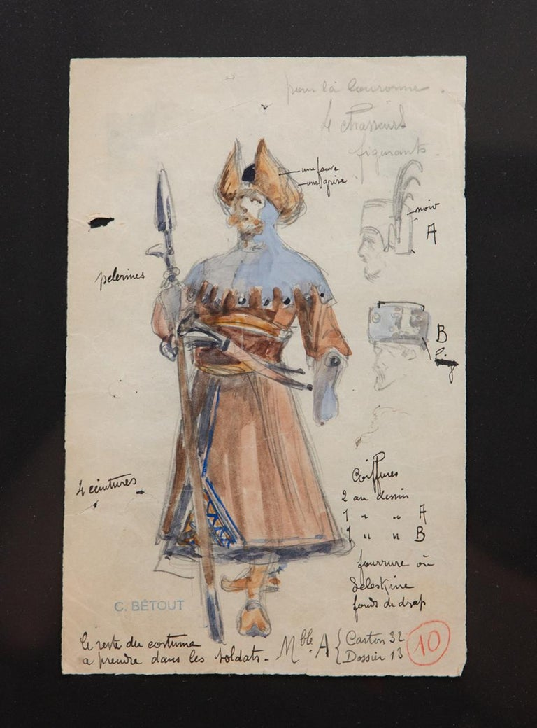 French Original Opera and Theatre Costume Watercolor Design by Charles Betout, Paris For Sale