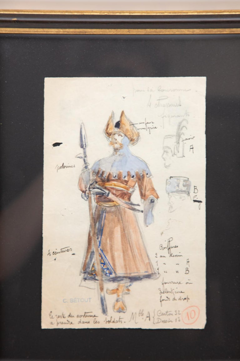 Original Opera and Theatre Costume Watercolor Design by Charles Betout, Paris In Excellent Condition For Sale In New York, NY
