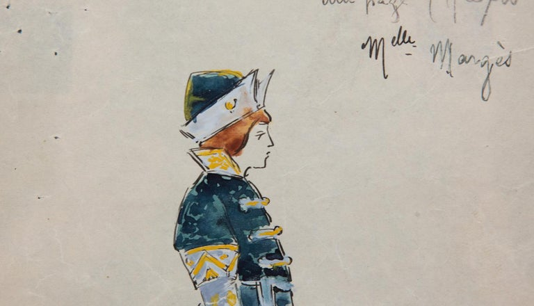 Original Opera and Theatre Costume Watercolor Design by Charles Betout, Paris In Excellent Condition In New York, NY