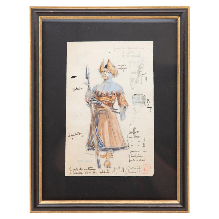 Original Opera and Theatre Costume Watercolor Design by Charles Betout, Paris For Sale