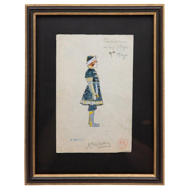 Original Opera and Theatre Costume Watercolor Design by Charles Betout, Paris