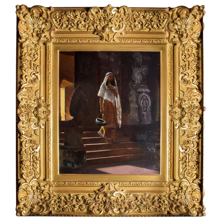Painted Original Orientalist Oil Painting of a Man Entering the Temple by Rudolf Ernst For Sale
