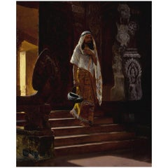 Original Orientalist Oil Painting of a Man Entering the Temple by Rudolf Ernst