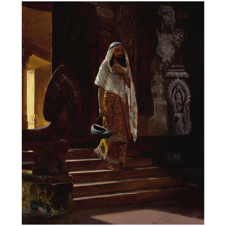 Original Orientalist Oil Painting of a Man Entering the Temple by Rudolf Ernst For Sale