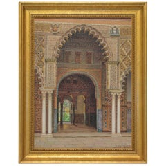 Original Orientalist Oil Painting of a Moorish Palace at Seville by Fernando Lig