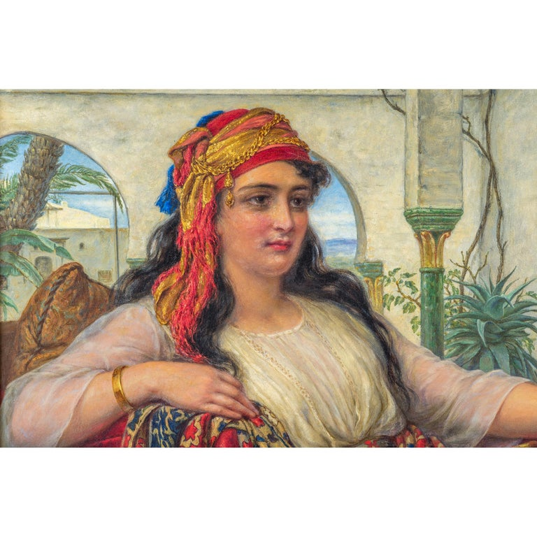 British Original Orientalist Oil Painting of a Reclining Harem Beauty by William Gale For Sale