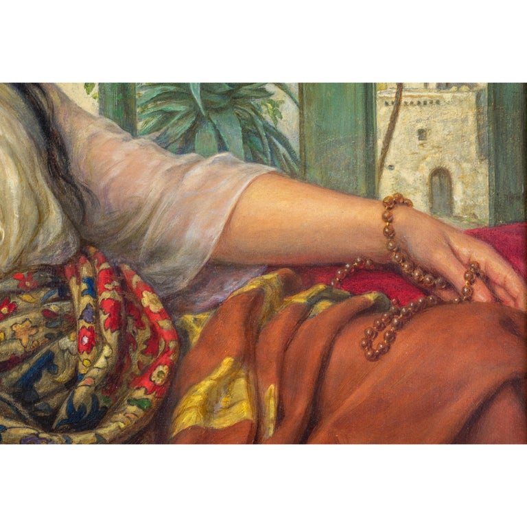 Painted Original Orientalist Oil Painting of a Reclining Harem Beauty by William Gale For Sale