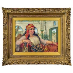 Original Orientalist Oil Painting of a Reclining Harem Beauty by William Gale