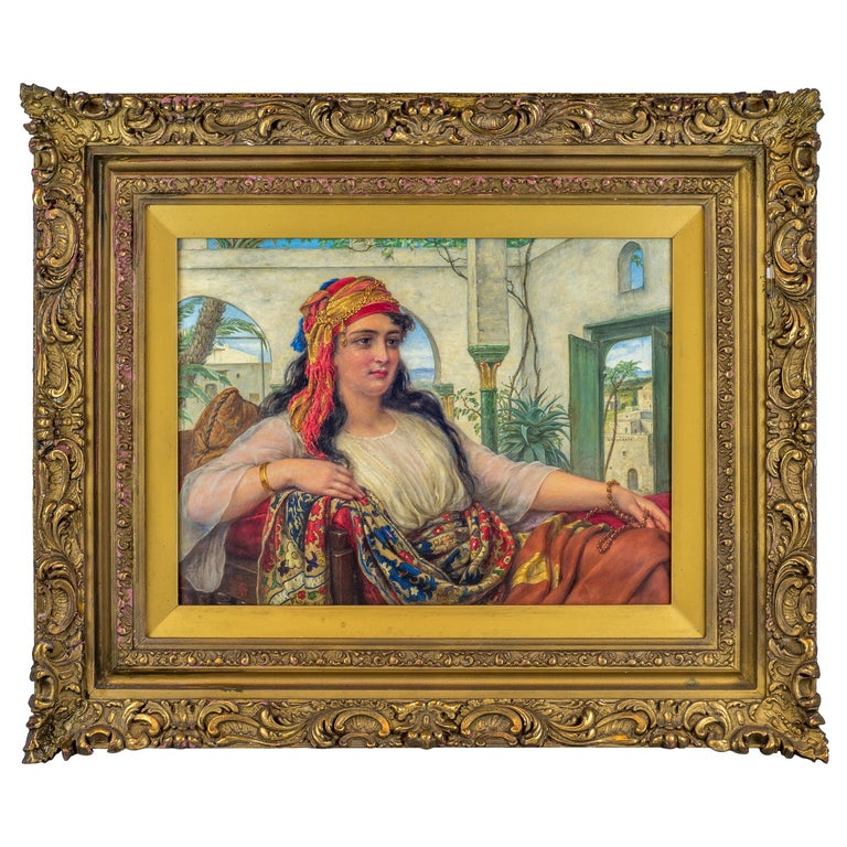 Original Orientalist Oil Painting of a Reclining Harem Beauty by William Gale For Sale