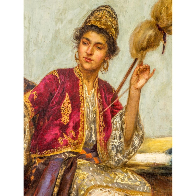 Austrian Original Orientalist Oil Painting of a Young Weaver by Rudolf Ernst For Sale