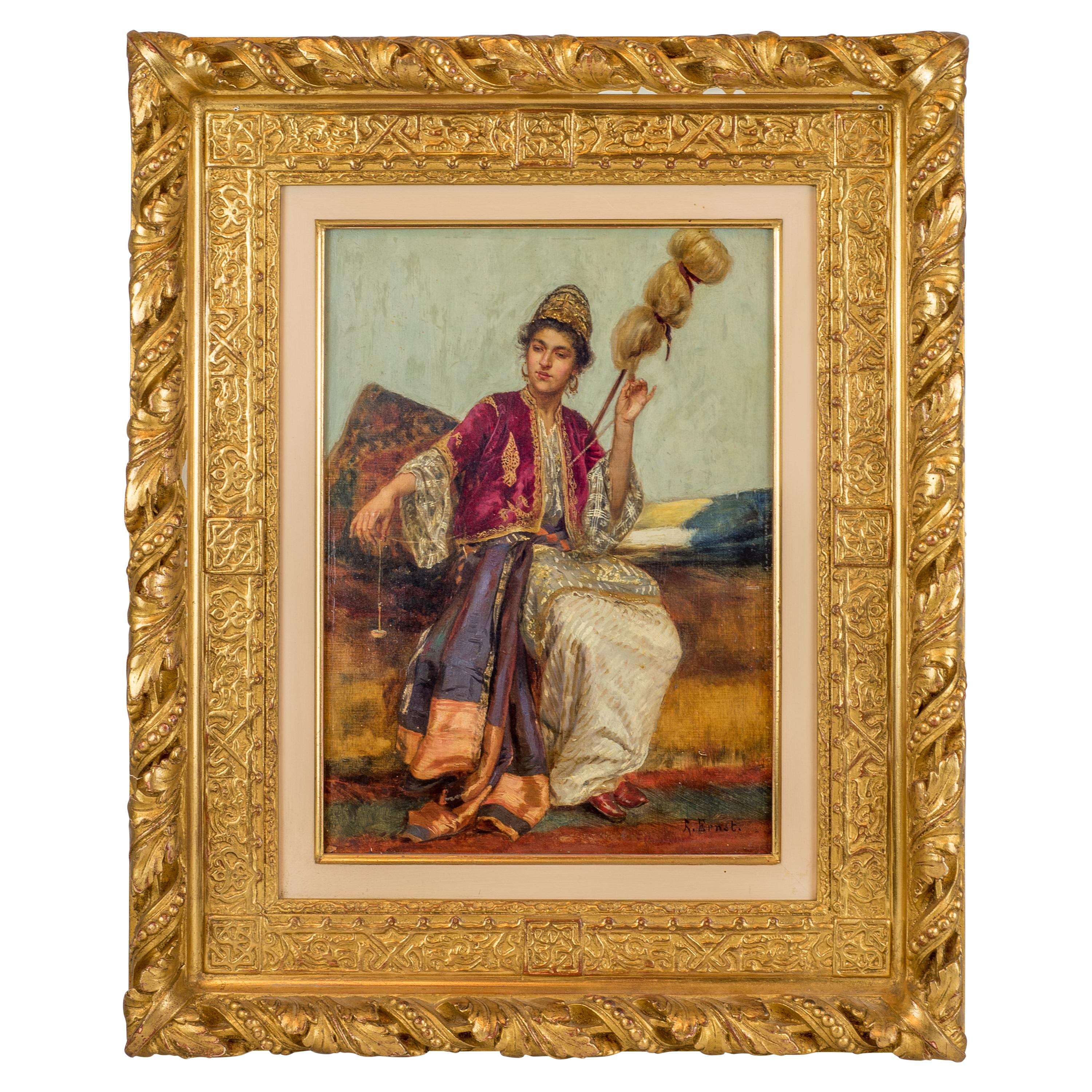 Original Orientalist Oil Painting of a Young Weaver by Rudolf Ernst