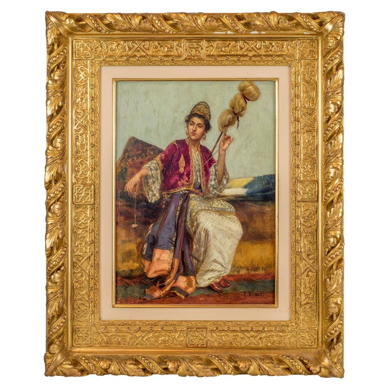 Original Orientalist Oil Painting of a Young Weaver by Rudolf Ernst For Sale