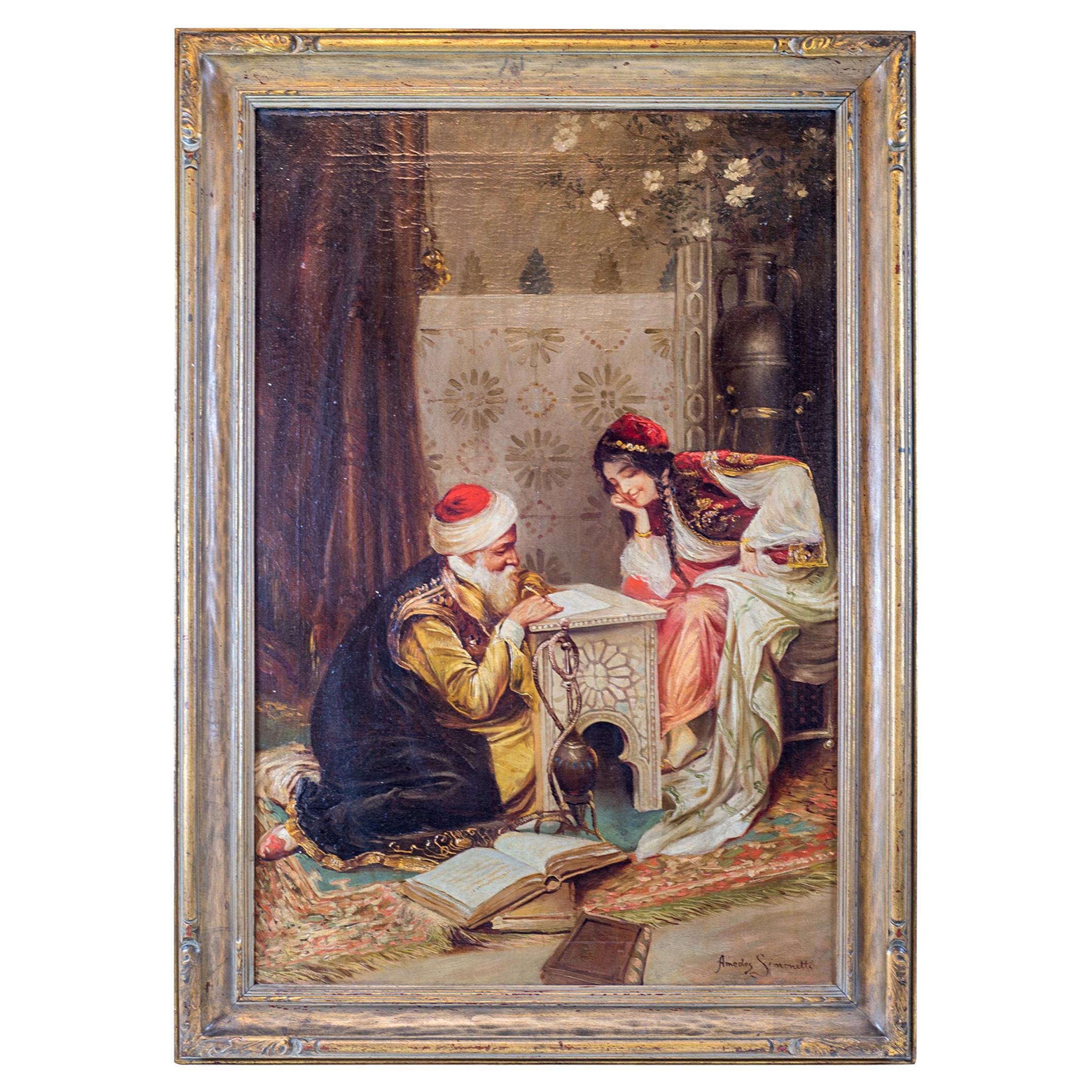 Original Orientalist Painting by Amedeo Simonetti, Signed, circa 19th Century