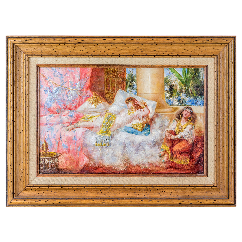 Original Orientalist Painting Depicting the Sultan's Concubine in the Harem