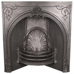Original Ornate Victorian Cast Iron Arched Fireplace Grate, Mid-19th Century