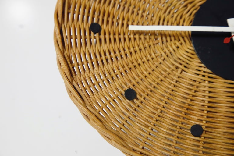 Original Oval Rattan 'Basket Clock' by George Nelson for Howard Miller, 1950s For Sale 4