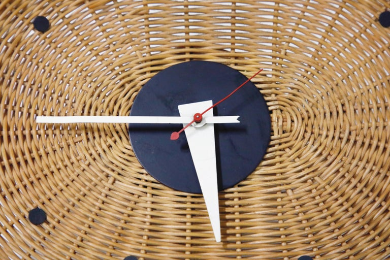 American Original Oval Rattan 'Basket Clock' by George Nelson for Howard Miller, 1950s For Sale