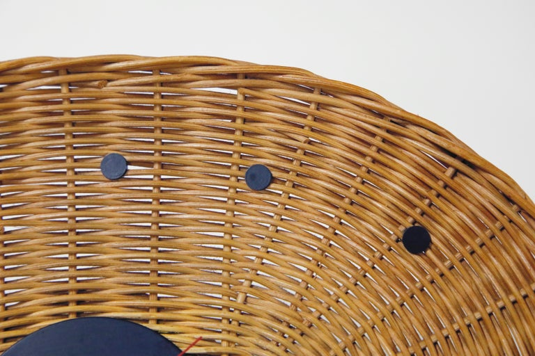 Mid-20th Century Original Oval Rattan 'Basket Clock' by George Nelson for Howard Miller, 1950s For Sale