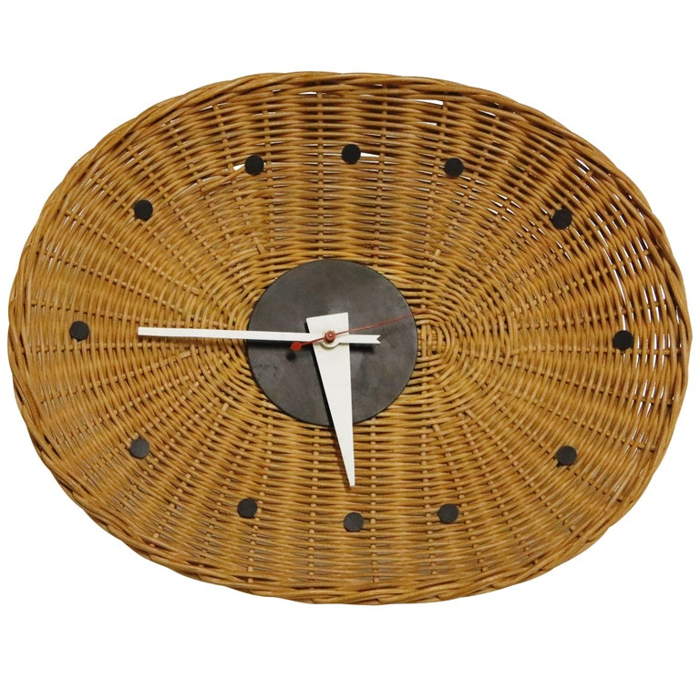Original Oval Rattan 'Basket Clock' by George Nelson for Howard Miller, 1950s For Sale