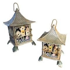 "Original Paint ""Flower & Bird Houses"" Tea Garden Lanterns Pair, Sturdy Made"