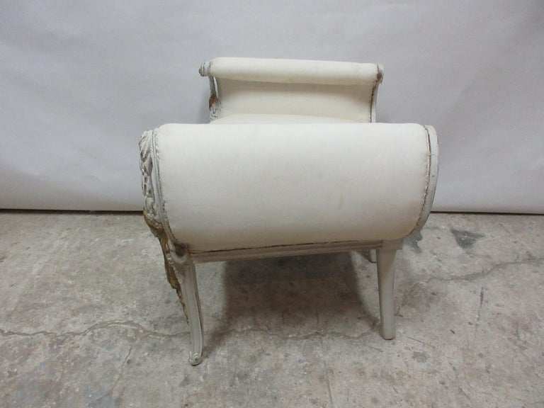This is an original paint Royal Gustavian vanity stool, the seating is new and covered in Muslin.