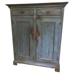 Original Painted Blue Two Door, Two Drawer Cupboard