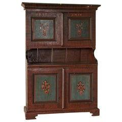 Original Painted Cupboard Dated 1835 from Sweden