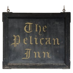 Original Painted English Tavern Sign, Pelican Inn, 19th Century, Country Pub