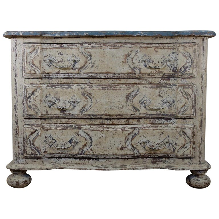 Original Painted French Serpentine Commode, Chest of Drawers For Sale