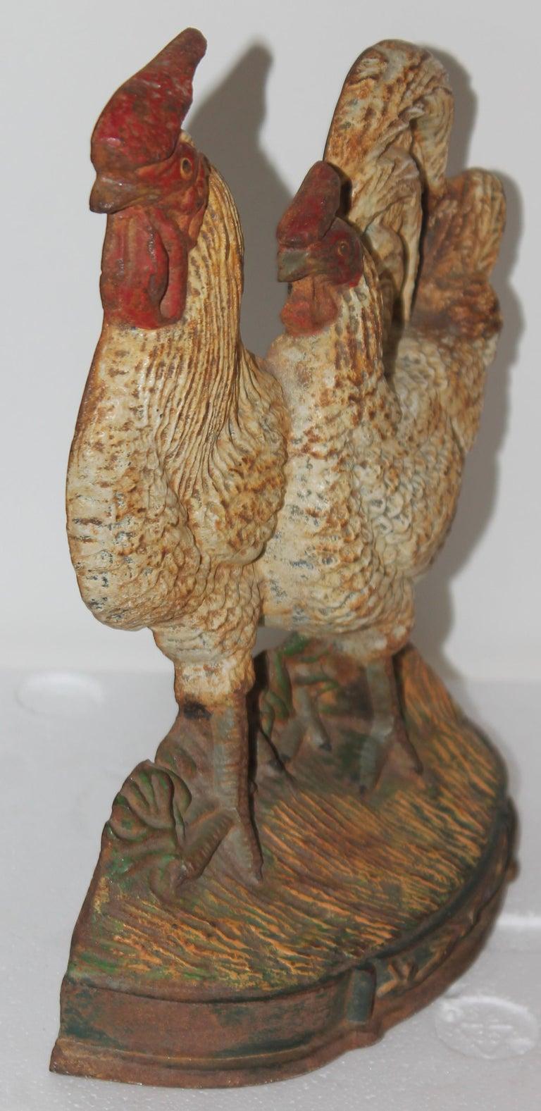 American Original Painted Roosters Iron Door Stop For Sale