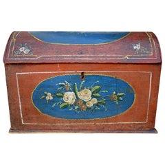 Original Painted Table Case, Hand Decorated, Antique