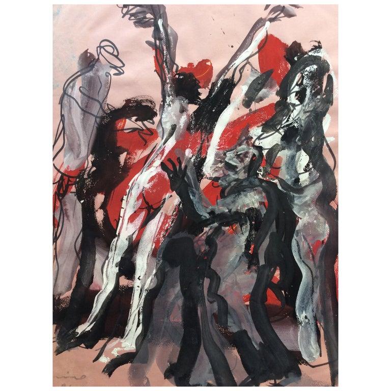 Original Mid Century Painting by Bernard Damiano For Sale