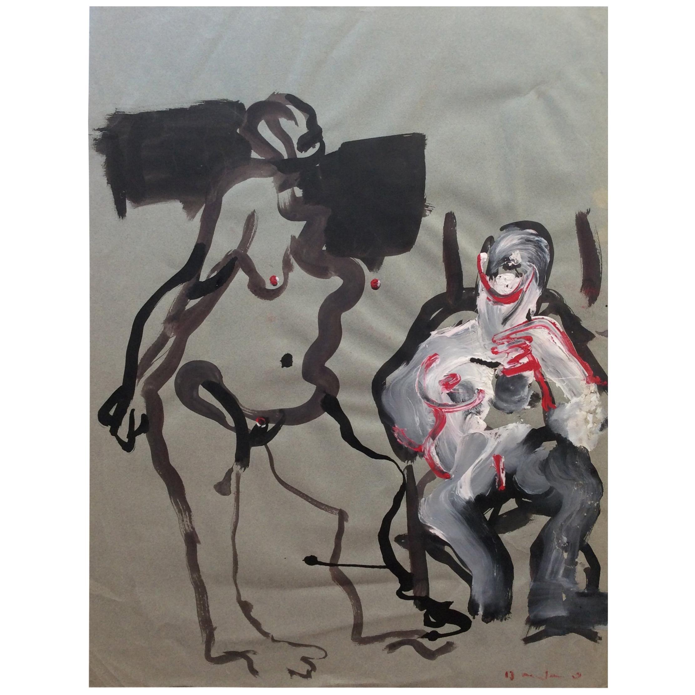 Original Bernard Damiano Mid-Century Painting Nudes