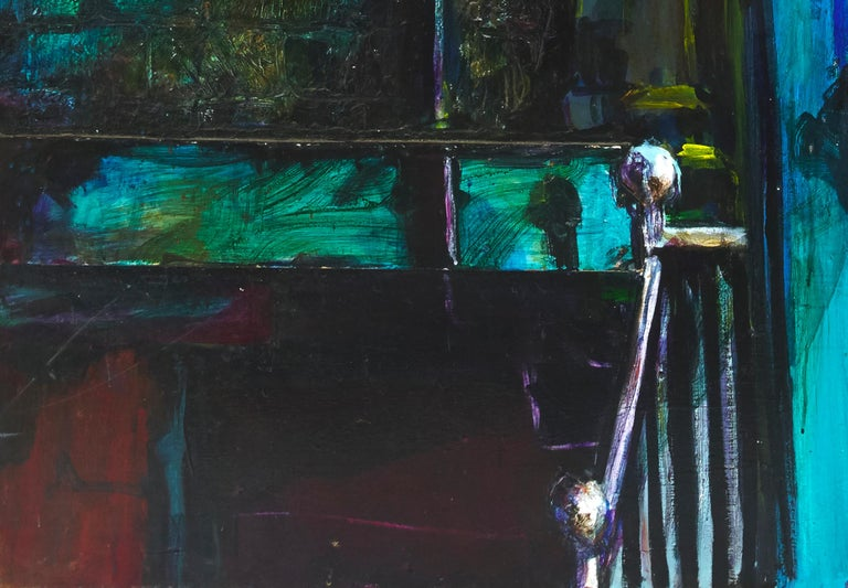Original Painting, Edgy Urban Scene of Young Man on Stoop, 3D Oil on Board In Good Condition For Sale In Plymouth, MA
