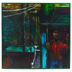 Original Painting, Edgy Urban Scene of Young Man on Stoop, 3D Oil on Board