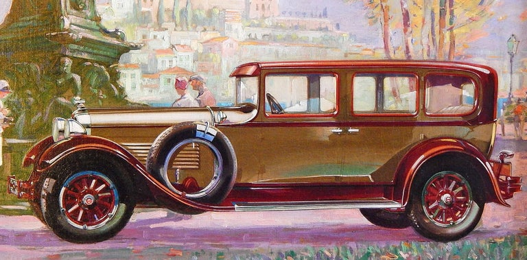 Masterfully painted and full of light and color, this oil painting depicting a 1938 Packard automobile, the height of Art Deco style and elegance toward the end of the Depression, is set on the edge of a park with a monumental bronze sculpture
