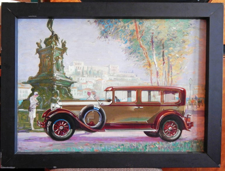 American Original Painting for 1938 Packard Advertisement, Stunning Oil on Canvas For Sale