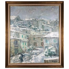 Original Painting on Canvas, Snow in an Italian Village Signed P. Vorrasi