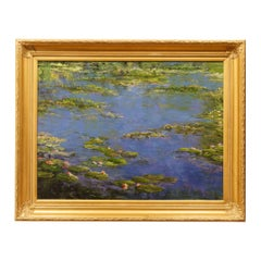 """Original Painting """"Pond with Water Lillies"""" by Thomas DeDecker"""