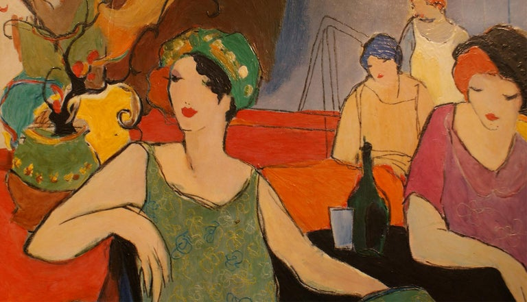 Original acrylic painting on canvas signed by Itzchak Tarkay (1935-2012), despicting women in a cafe with vibrant colors, inspired by the post impressionist movement. Itzchak Tarkay is considered to be a key figure in the modern figurative movement