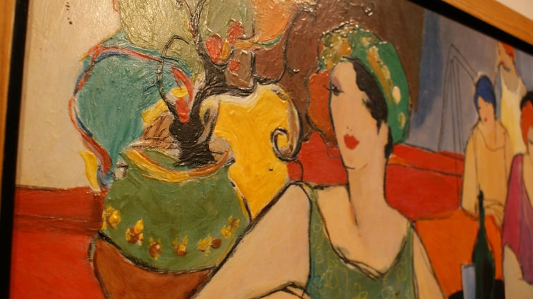 Painted Original Painting Signed by Itzchak Tarkay For Sale