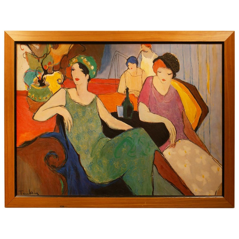 Original Painting Signed by Itzchak Tarkay For Sale