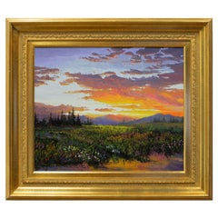 """Original Painting """"Sunset and Flowers - Summer"""" by Thomas deDecker"""