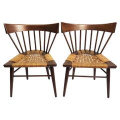 "Original Pair Edmond Spence ""Yucatan"" Mahogany Side Chairs Woven Sea Grass Seats"