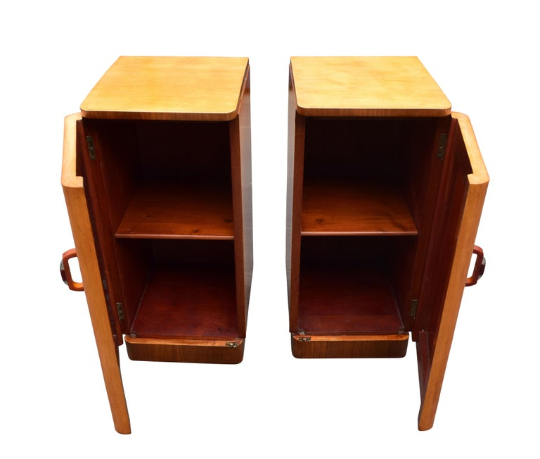 English Original Pair of 1930s Art Deco Blonde Bedside Cabinets For Sale