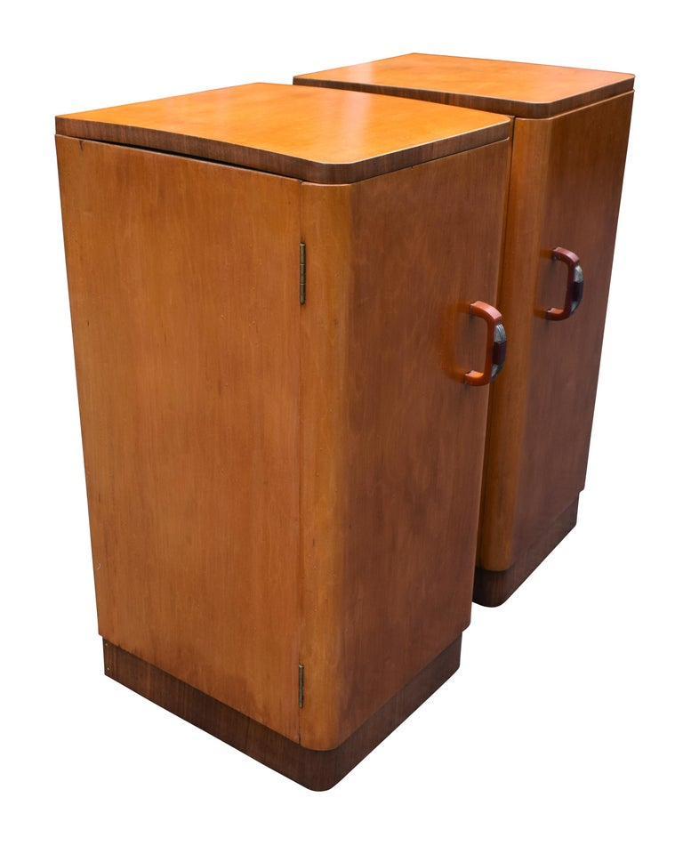 20th Century Original Pair of 1930s Art Deco Blonde Bedside Cabinets For Sale