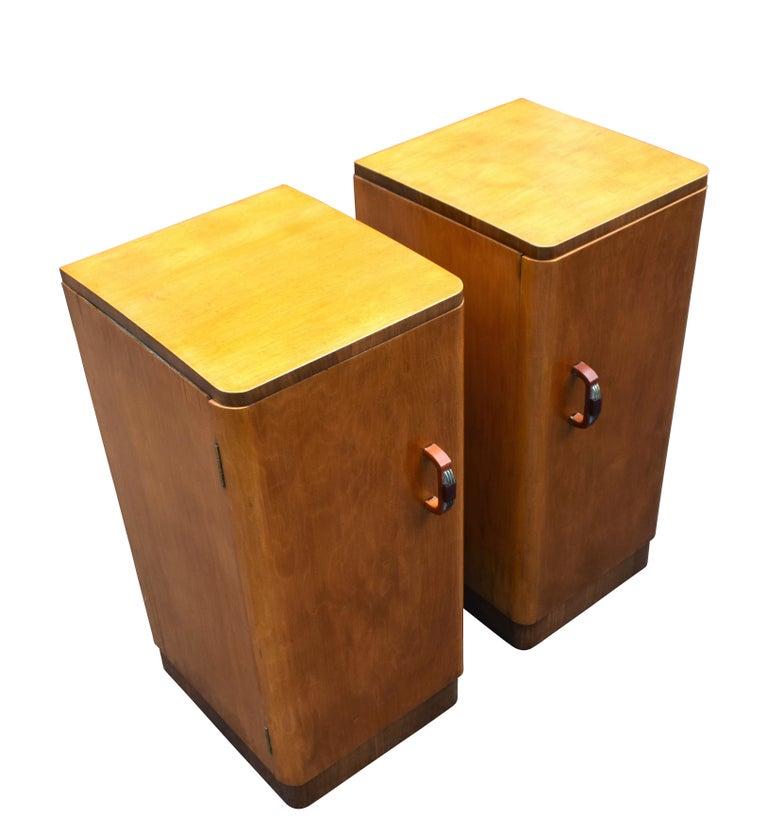 Bakelite Original Pair of 1930s Art Deco Blonde Bedside Cabinets For Sale