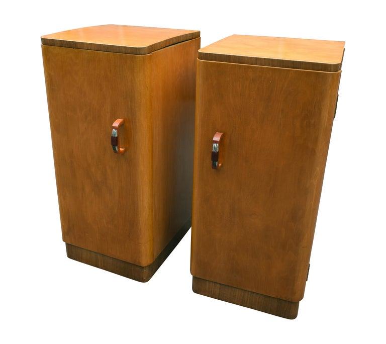 Original Pair of 1930s Art Deco Blonde Bedside Cabinets For Sale 1