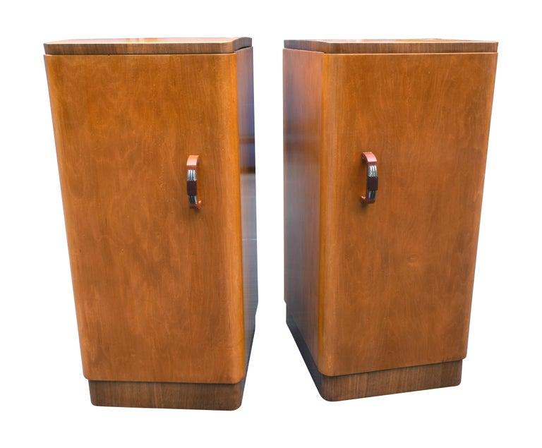 Original Pair of 1930s Art Deco Blonde Bedside Cabinets For Sale 2