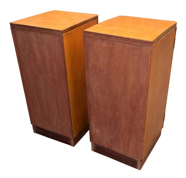 Original Pair of 1930s Art Deco Blonde Bedside Cabinets For Sale 3